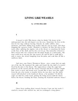 Living like Weasels, by Annie Dillard.